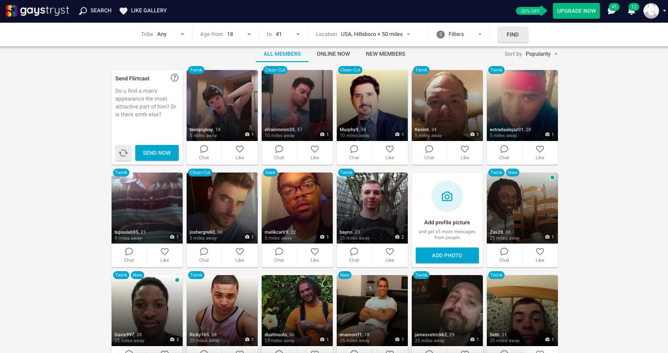 members profiles GaysTryst